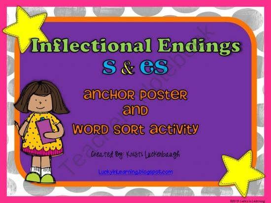 Inflectional Endings -s and -es Anchor Chart and Word Sort product from Lucky-In-Learning on TeachersNotebook.comEs Anchors, Anchor Charts, Colors Prints, Attributes, Cores Tags, Common Cores, Anchors Free, Anchors Charts, 2Nd Grade