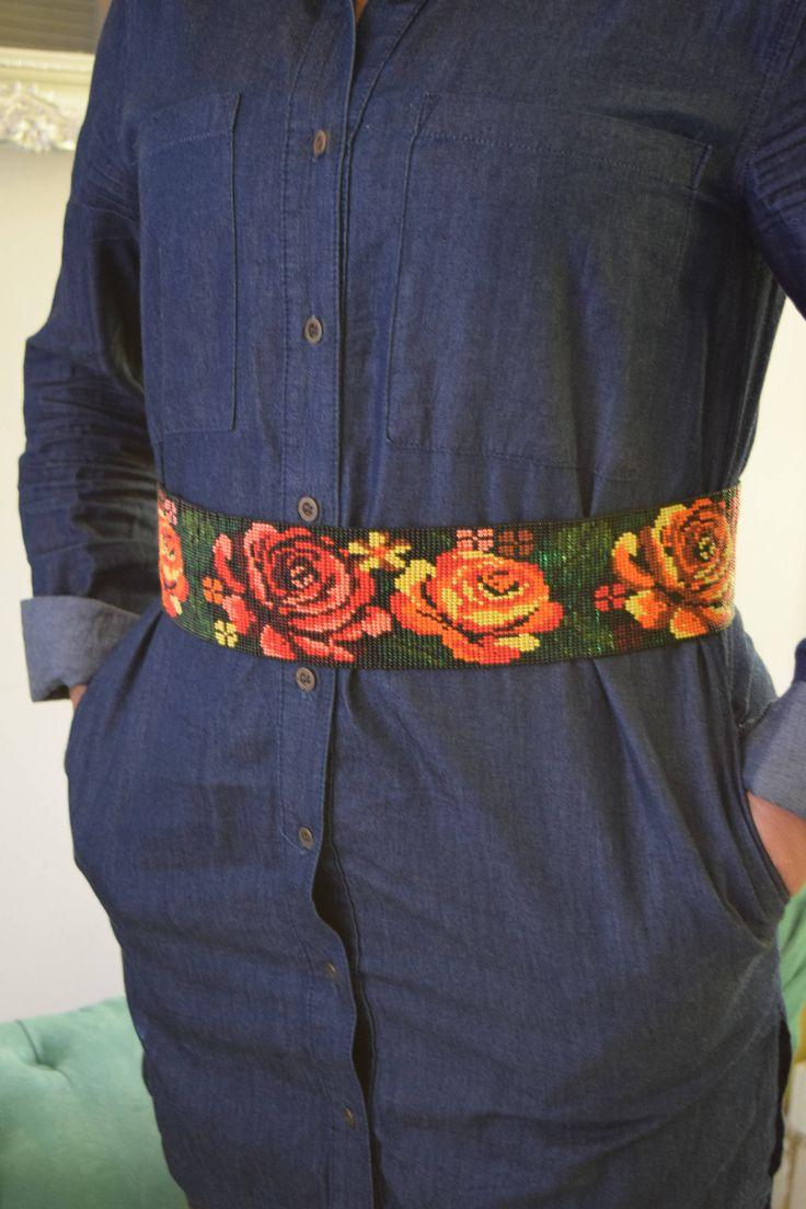 Cinto de cuentas de Chaquira/ handmade / ethnic belt / cinturón de flores / cinturón artesanal / mexican party / Boho Chic / sash / fajin de RaicesdeArteMexicano en Etsy