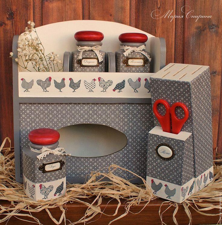 """Купить Набор для кухни """"Прованс. Куриное царство"""" - баночки для специй, подарок хозяйке, подарок женщине"""