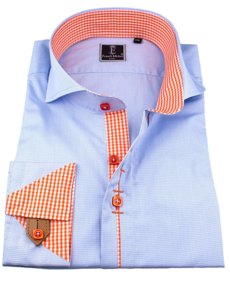 Men's Luxury shirts - Leather french cuff shirts - Cuba milleret blue | UrUNIQUE.com