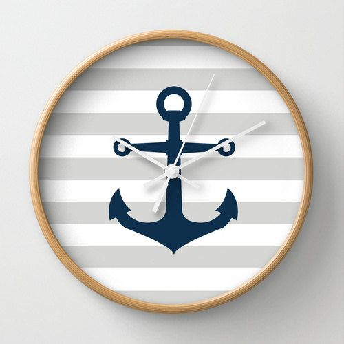 Nautical Anchor Wall Clock 10 inch Diameter Gray by decomodwalls, $35.00