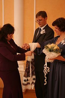 """handfasting—the blessed marriage rite in which the hands of you and your beloved are wrapped in ribbon as you 'tie the knot.'"" - Wikipedia, the free encyclopedia"