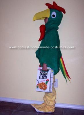 Homemade Cornelius the Kellogg's Cornflakes Rooster Costume: For this Cornelius the Kellogg's Cornflakes Rooster Costume I found a bird pattern and made it using green fleece, I added the red fleece for a gobbler
