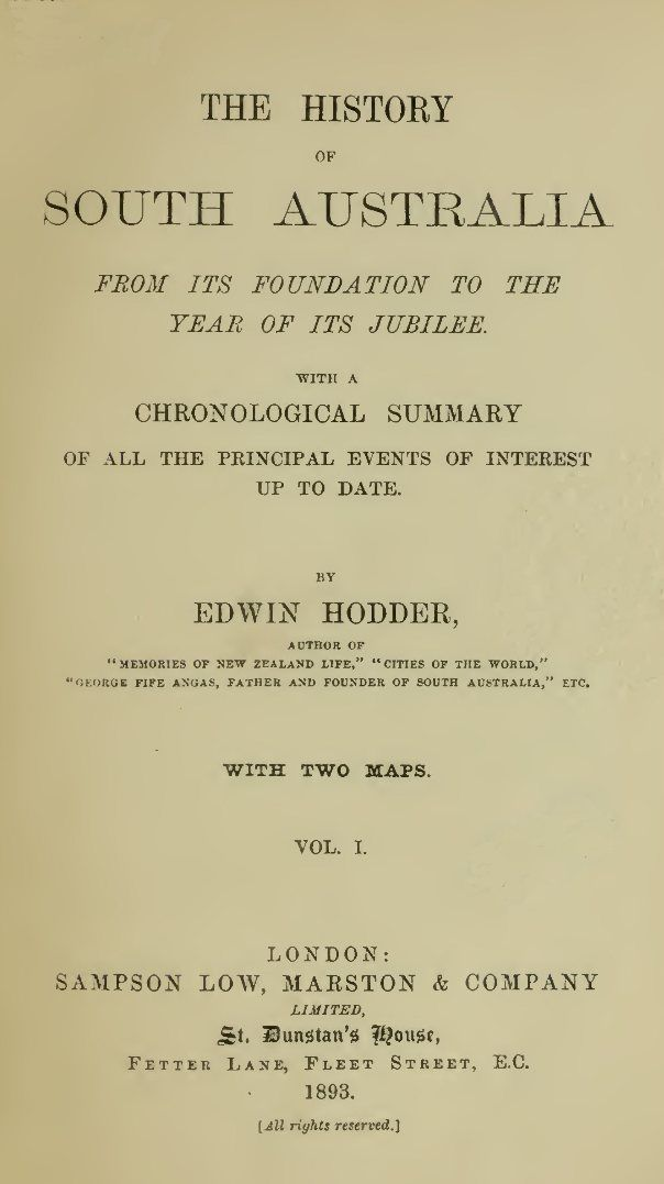 The History of South Australia, Volume I.