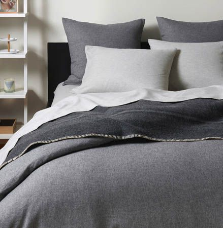 Flannel Graphite Queen Duvet | Unison | If humans hibernated, we would all own a set of these uber cozy flannel sheets. In versatile gray, they're easy to mix-and-match. And in 60% cotton, 40% viscose of heather bamboo, they're extraordinarily soft. Which means you might want to stay in bed all day - or all winter. Move over, Mr. Grizzly.