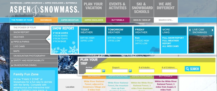 Great trip planner and snow report flyout widgets.