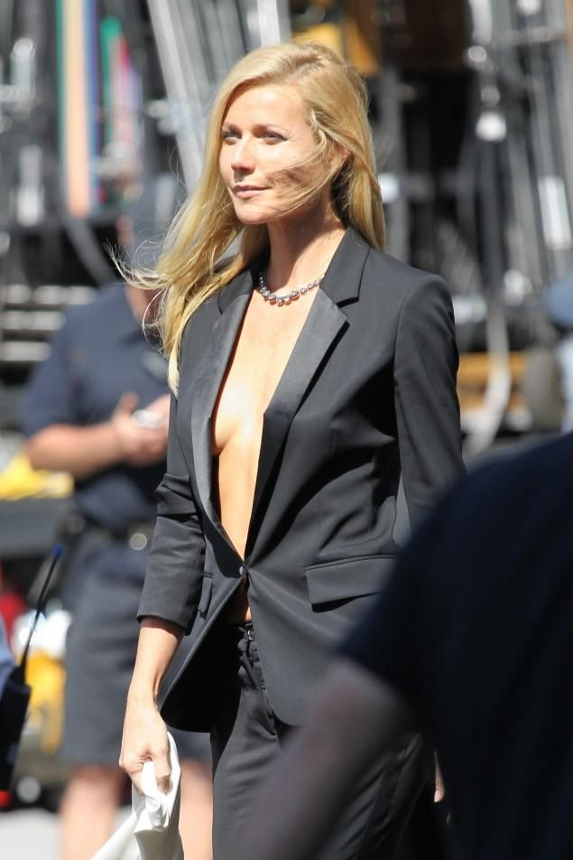 Gwyneth Paltrow  works a sexy black tuxedo suit  as she shoots  Hugo Boss campaign in the streets of Los Angeles.