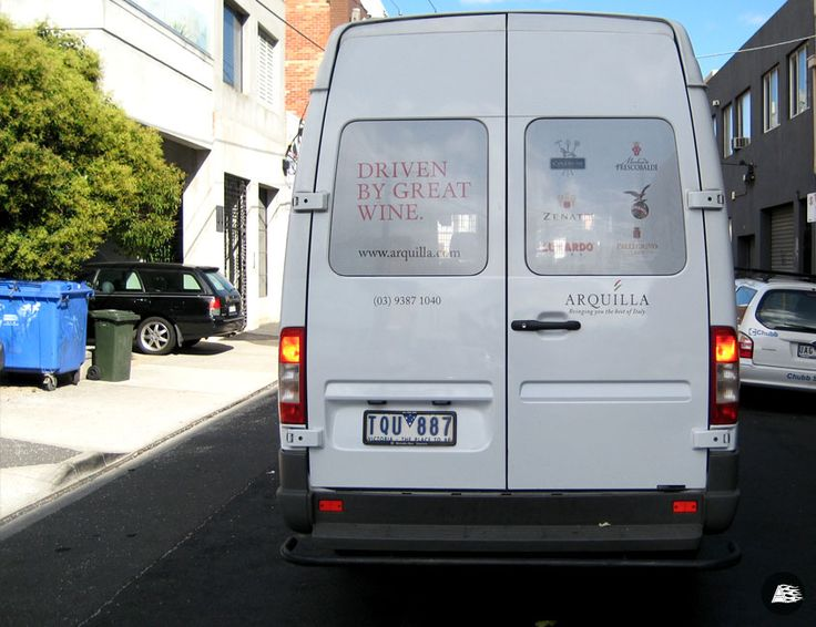 Rear Window Advertising Arquilla Wines Delivery Van Wrap R