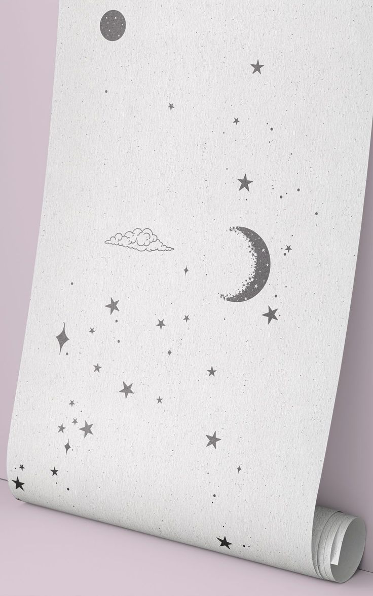 Slumber under a magical array of illustrated moons and stars with our black and white Mystical wallpaper mural in your bedroom. This minimal design works as a stylish night sky scene for a master bedroom, a dreamy aesthetic for a teen's room, or a delicate starry print for a cute nursery space.The off-white background has a soft paper texture effect, and the mini moon, cloud and star motifs have lots of little details surrounding them – even some shooting stars. Moon And Stars Wallpaper, World Map Wallpaper, Star Wallpaper, Wallpaper Ideas, Stars And Moon, Pattern Wallpaper, Witchy Wallpaper, Forest Wallpaper, Daybed In Living Room