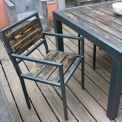 Fauteuil métal chaise metal bois www.loftboutik.com