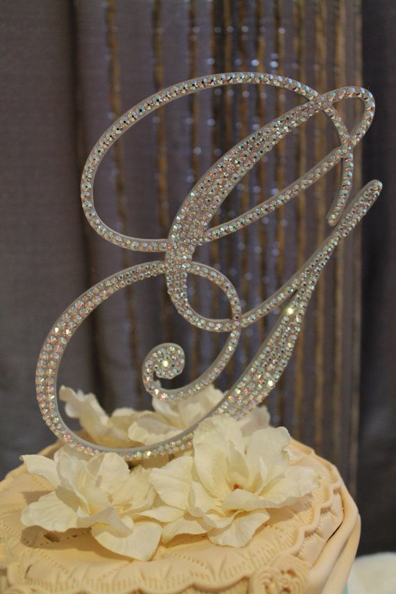 6 Crystal Monogram Wedding Cake Topper by BarbieHillDesigns