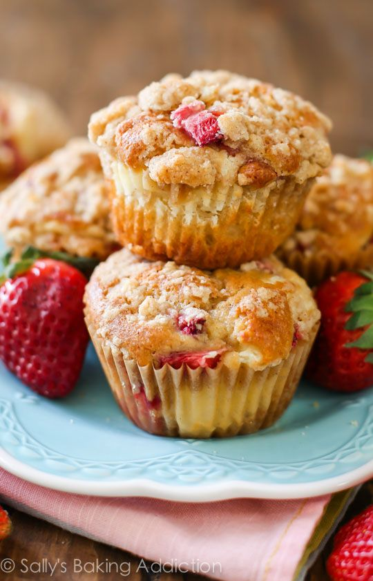 These Strawberry Cheesecake Muffins are filled to the brim with strawberries and topped with a delicious streusel topping. The cheesecake filling is the best part!