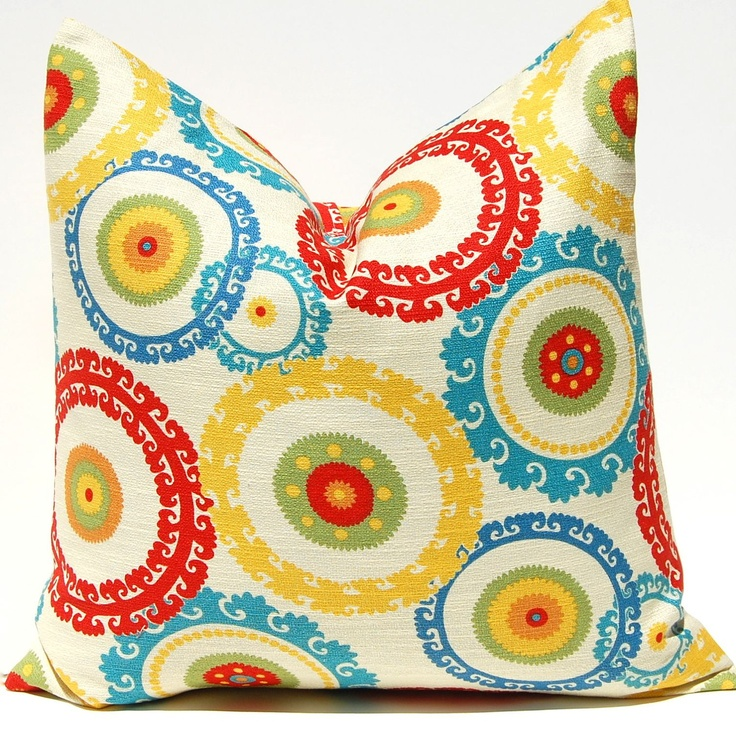 Decorative Throw Pillow Cover ONE - 20 x 20 Inches Designer Suzani in Citron Red, Green, Turquoise and Yellow. $28.00, via Etsy.