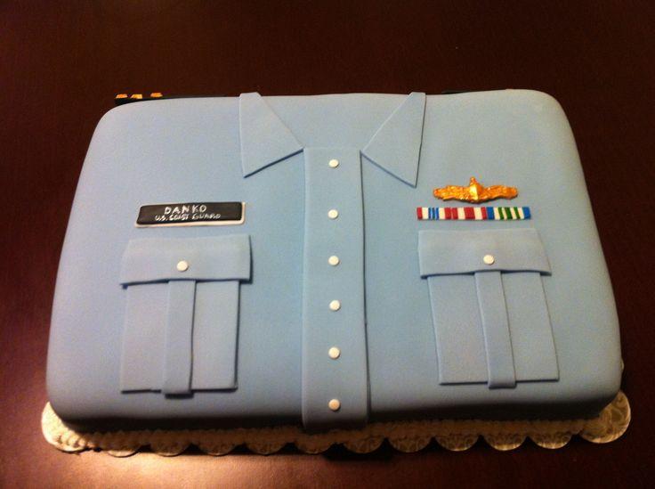 Coast Guard Trops 1/2 sheet Cake. United States Coast Guard Military.