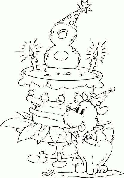 birthday cake age 8 coloring page - coloring.com