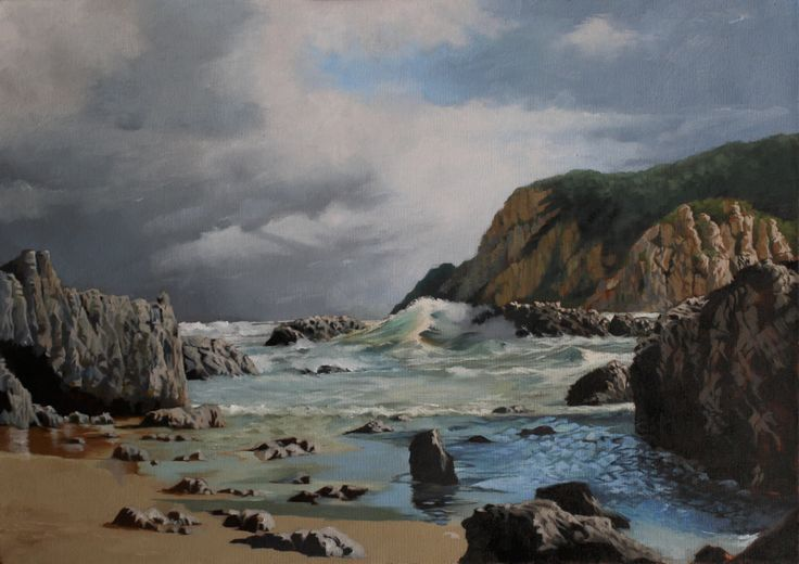 Seascape of Coney Glenn outside the Knysna Heads South Africa. Rendered in Oil on Fredrix Canvas.