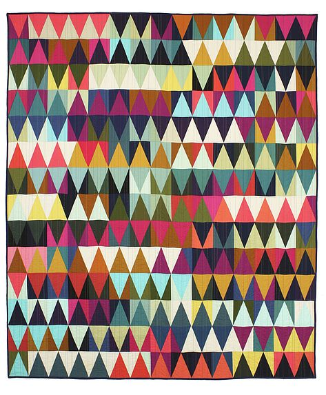 Tara Faughnan, modern colorful Triangle Quilt , only solids