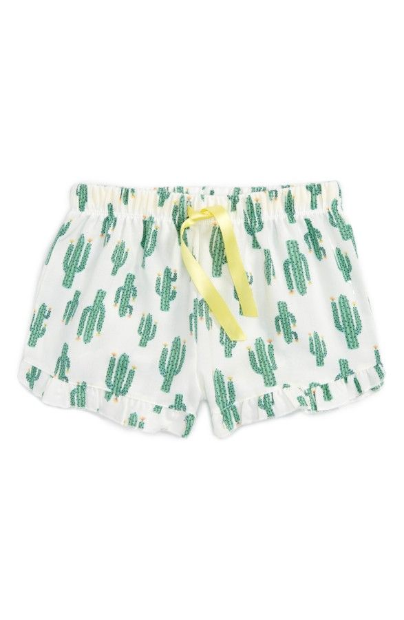Cacti pajamas are the best kind of pajamas. These flannel shorts with  ruffles are sure