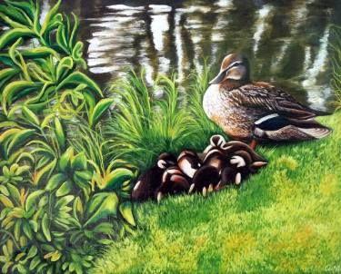 """Saatchi Art Artist Dan Civa; Painting, """"Duck with ducklings"""" #art"""