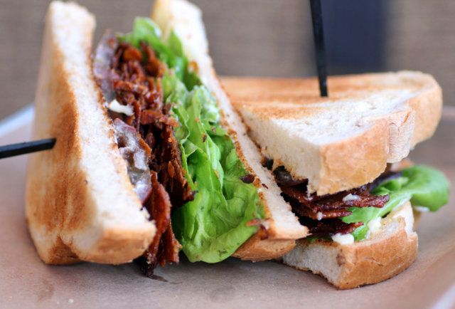 Bacon, lettuce, & tomato fans must try the chicken skin BLT at Lillie's Q in Wicker Park...