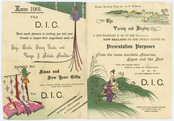 Drapery and General Importing Company of New Zealand Ltd, Xmas and New Year gifts, 1901, Letterpress and Japanese woodblock print, on Japanese paper 203 x 290 mm, Printed Ephemera Collection, Alexander Turnbull Library