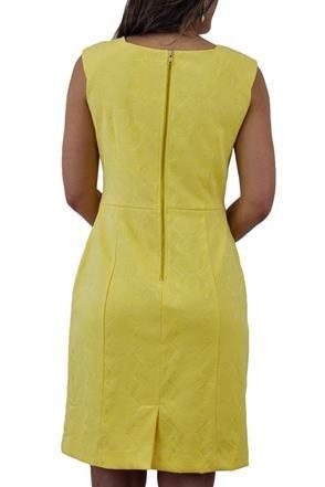 Vestido Tubinho Jacquard amarelo Seiki @ ChicEElegante