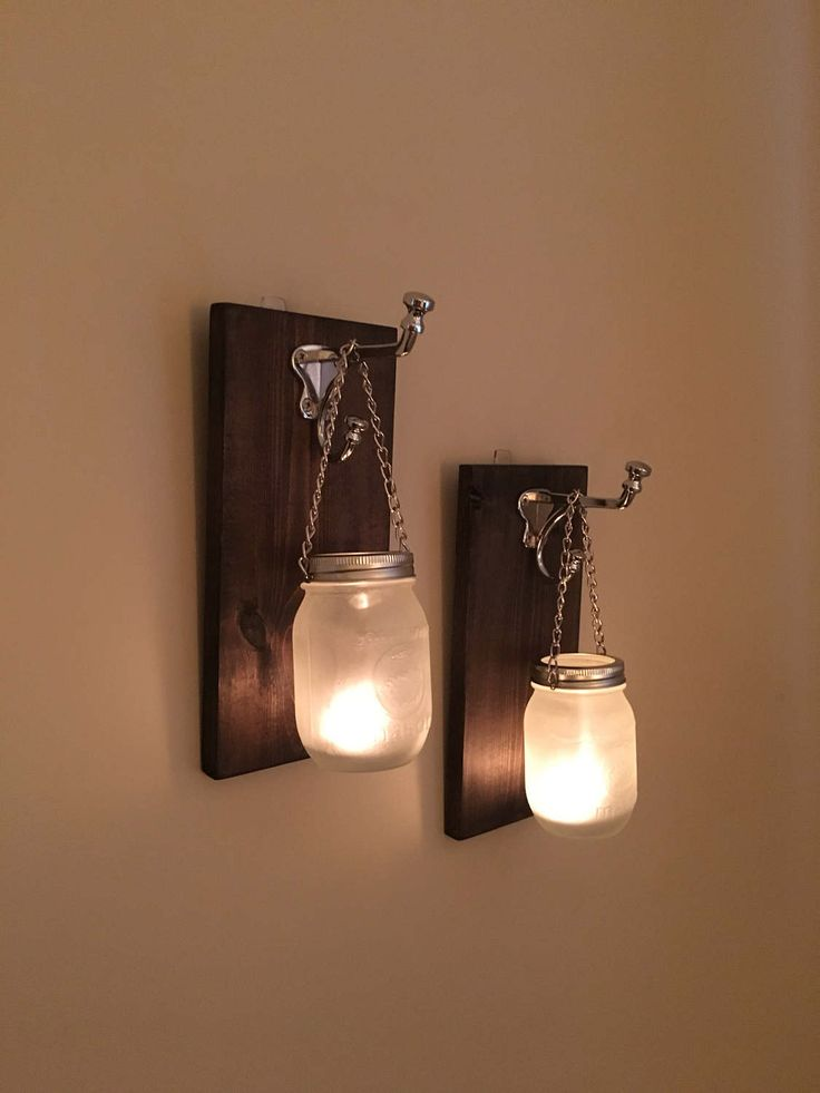 Frosted Mason Jar Wall Sconces by TheWoodenBarrelCo on Etsy https://www.etsy.com/ca/listing/522949745/frosted-mason-jar-wall-sconces