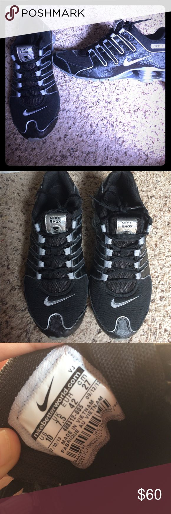 Size 10 Nike Shox Barely worn black Nike Shox with silver accents and cool holographic design on the sides. In great condition. Nike Shoes Athletic Shoes
