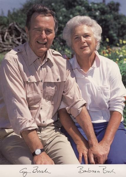 George Herbert Walker Bush, 41st President of the United States, with his wife, Barbara Pierce Bush ~ by nanette
