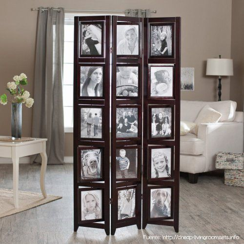 memories double sided photo frame room divider rosewood 3 panel 8 x 10 room dividers at hayneedle
