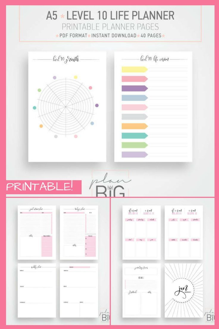 A5 Planner Printable Planner New Year Planner Resolutions Planner