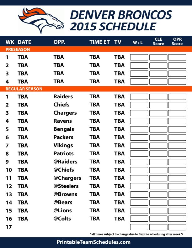 denver broncos 2014 2015 schedule printable | Print Denver Broncos Schedule