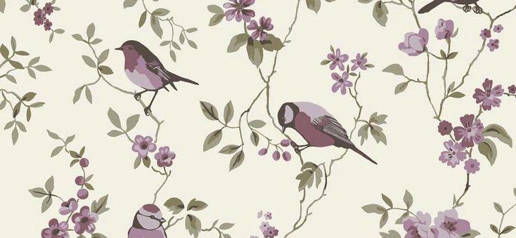 Papel pintado Gorriones sobre fondo beige, telas & papel
