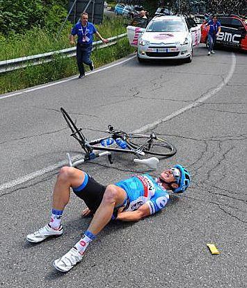 GIRO 2014 - 11 (249 km, Collecchio - Savona) : Fabian Wegmann (Germany / Garmin-Sharp) in agony after a crash that tore his hamstring. Photo: © Tim de Waele/TDW Sport.