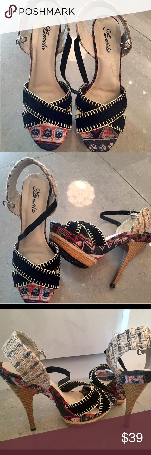 Sexy and fun high heel sandals! Almost brand new, Brazilian made sandals. These hot pair are perfect for summer, with suede, woven leather accents and colorful bottoms! 💃🏻👠 Atrevida Shoes Sandals