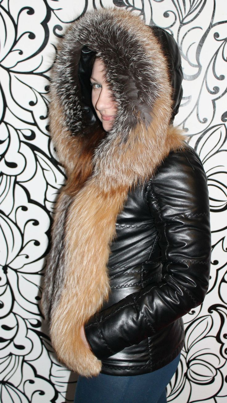 Crystal Fox Fur Coat with Hood Real Fur Coat Fox Fur Vest No Mink Lynx Sable | eBay
