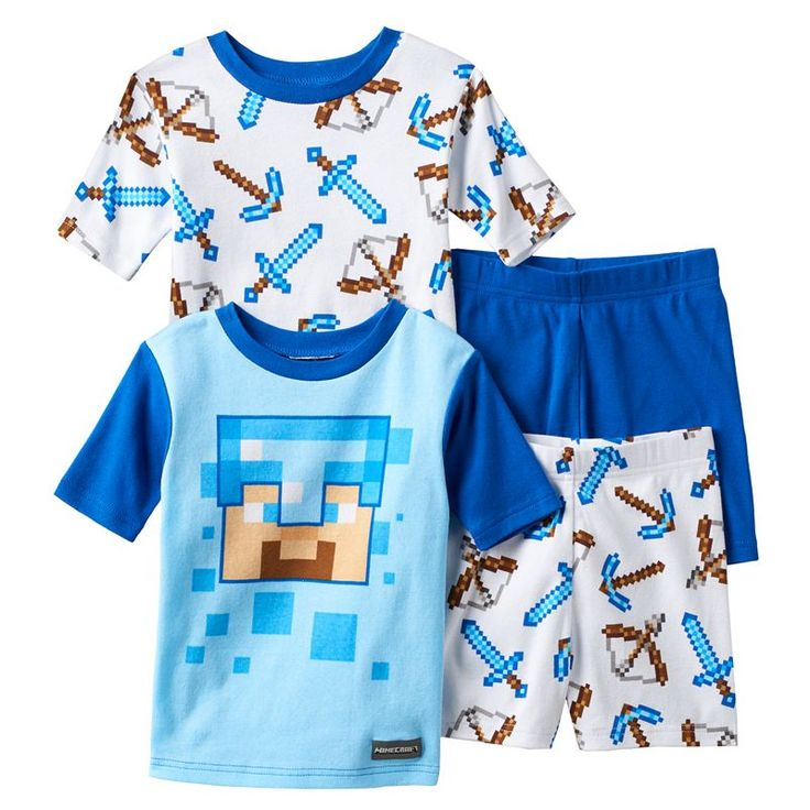 Boys 4-12 Minecraft 4-Piece Pajama Set, Boy's, Size: 12, Multicolor