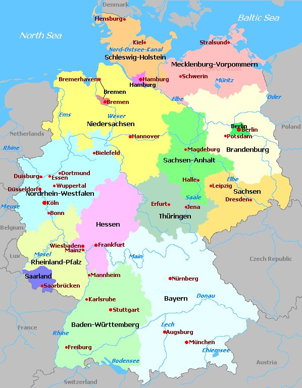 Wiedmann: Map of Germany with Dorethae (Gross) Mohr's hometown of Mecklenberg and Philipp Mohr's hometown of Hessen, Germany. #Wiedmann #Germany #Maps