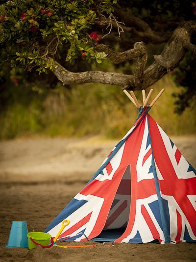 An Indian Tepee made out of a Union Jack