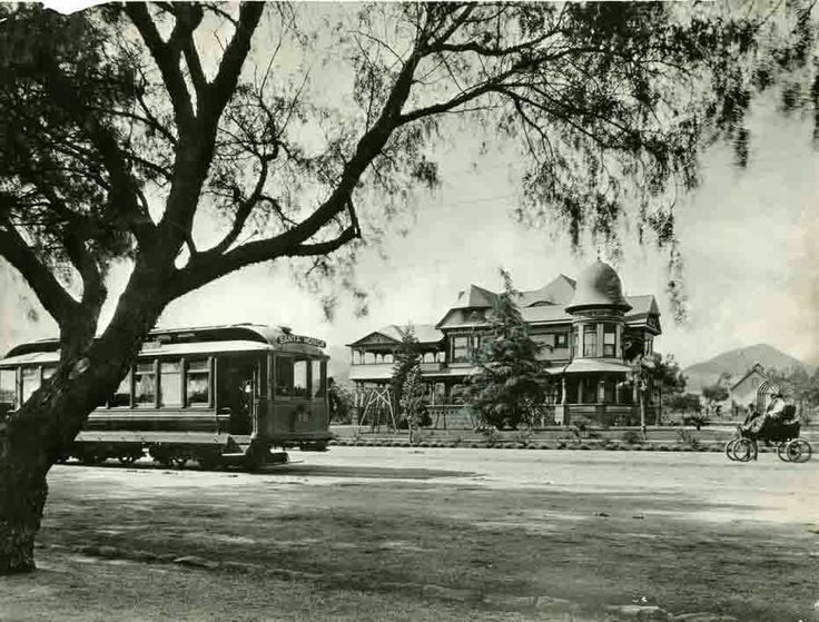 Until about 1915, almost all of Prospect Ave. (now Hollywood Blvd) was residential and lined with Pepper trees -- as seen in this 1900 photo of the NW corner of Prospect Ave. & Wilcox Ave. From the hollywoodphotographs.com website.