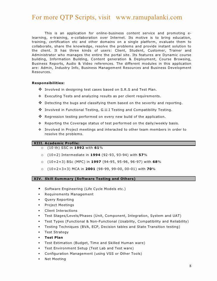 Software Tester Resume Sample Lovely Qtp Resume Manual Testing Resume Format Seangarrette Co Resume Format Resume Resume Software