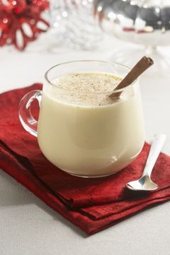 Supposedly George Washington's own eggnog recipe: One quart cream, one quart milk, one dozen tablespoons sugar, one pint brandy, 1/2 pint rye whiskey, 1/2 pint Jamaica rum, 1/4 pint sherry—mix liquor first, then separate yolks and whites of eggs, add sugar to beaten yolks, mix well. Add milk and cream, slowly beating. Beat whites of eggs until stiff and fold slowly into mixture. Let set in cool place for several days. Taste frequently.