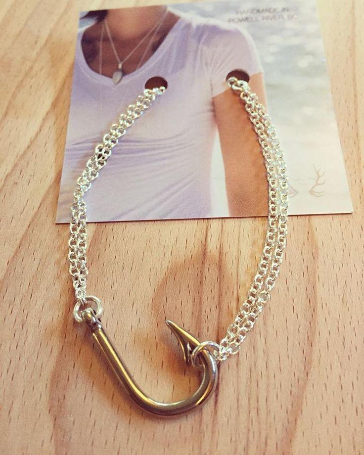 TINY FISH HOOK BRACELET- STERLING SILVER CHAIN *great jewelry ideas