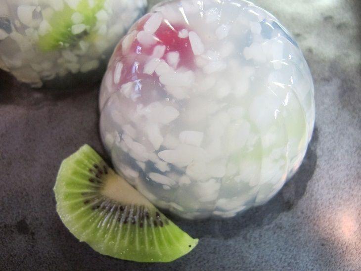"Fruits  in snowfall. Japanese dessert called "" Awayuki"""