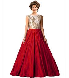 Buy Red raw silk embroidered semi stitiched party wear gowns party-wear-gown online