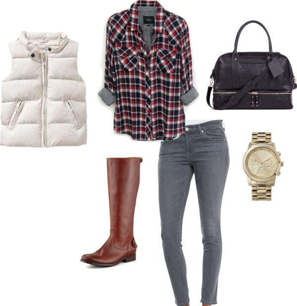 Fall Outfit Idea #13 Puffer Vest + Plaid Shirt + Gray Jeans + Riding Boots
