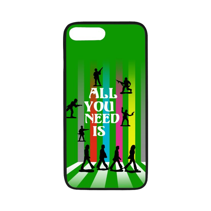 """'All You Need Is...' Rubber Case for iPhone 7 plus (5.5"""") - @artsadd #phoneoftheday #green #nomorewar #style #abbeyroad #loveandpeace #beatlesque #popart #music #songs #toysoldiers #loveisallyouneed #allyouneedislove #phonecovers #iphonecovers #iphone #iphone7case"""