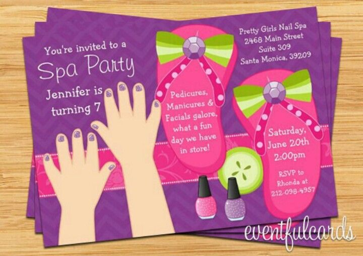 Cute girl's Spa party invitations  www.facebook.com/KathysDaySpa
