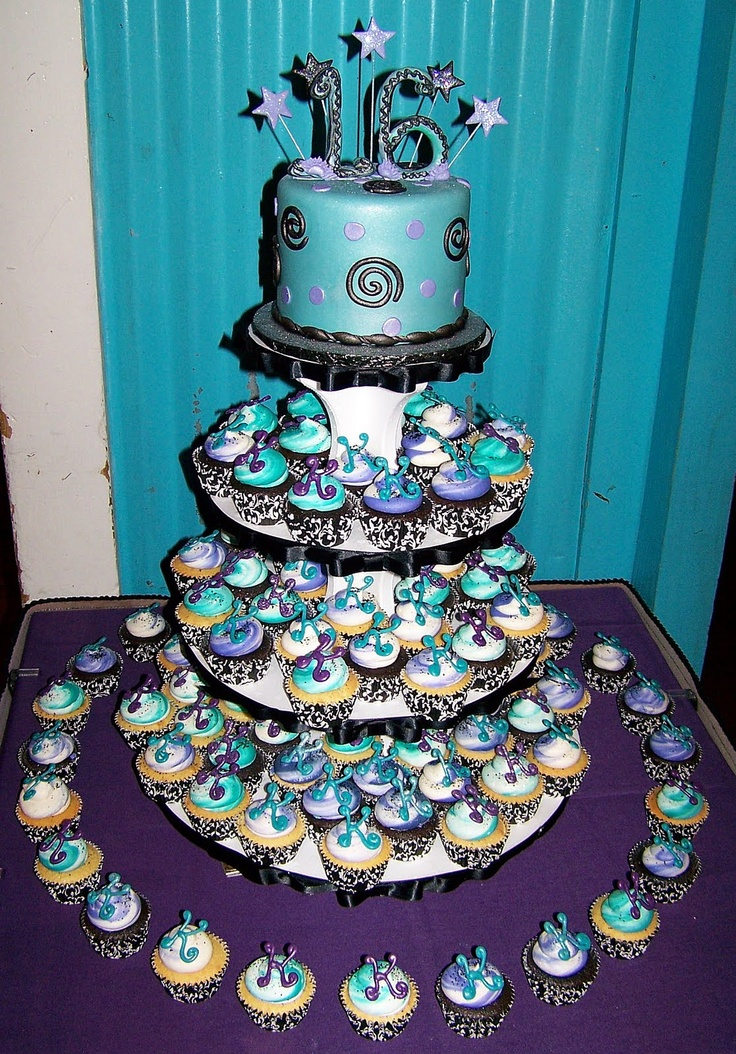 Cake Designs For Sweet Sixteen : Sweet 16 cupcake cake Party Ideas Pinterest Sweet ...