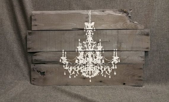 Pallet wall art chandelier shabby chic chandelier for Pallet shabby chic